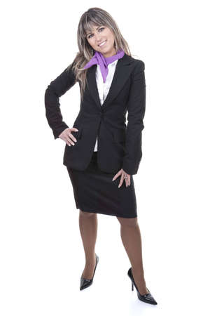business woman legs: beautiful blond businesswoman wearing formal suit - isolated on white background Stock Photo