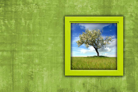 enviromental: window with spring landscape view - enviromental concept