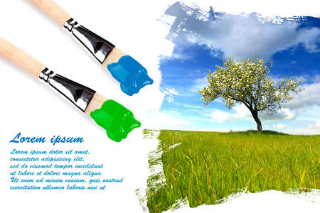 Painting landscape with paintbrushes with copyspace for your text Stock Photo