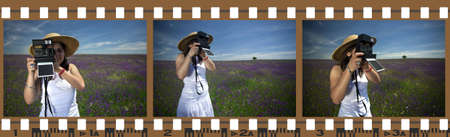 model released: filmstrip photo frames with woman outdoors - all photos are mine and model released