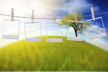 disposable photos frames hanging in the rope on a beautiful summer day - landscape orientation Stock Photo - 4697850
