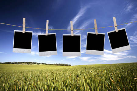 disposable photos frames hanging in the rope on a beautiful summer day - landscape orientation