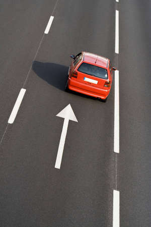 lonely car in empty highway - landscape orientation Stock Photo - 4863890