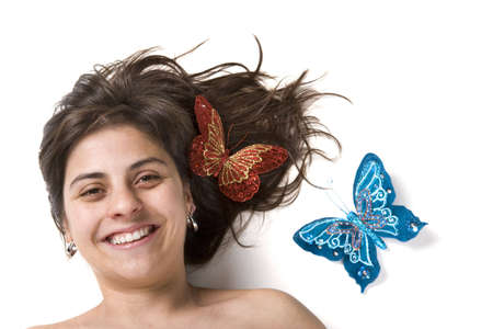 beautifull young woman smiling with butterflys photo