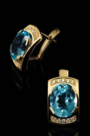 topaz: blue topaz earrings Stock Photo