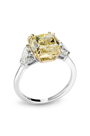 White gold ring with fancy brilliant Stock Photo