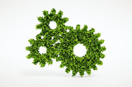 흰색 배경 자연 잎의 톱니 바퀴 기호 3 차원 렌더링 격리
