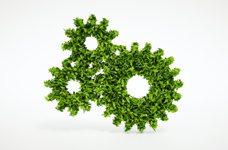 eco energy: Isolated 3d render natural leaf cogwheel symbol with white background