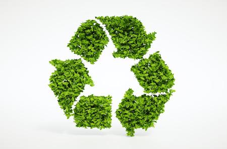 reciclar: Aislados 3d render hojas s�mbolo de reciclaje natural con fondo blanco Foto de archivo