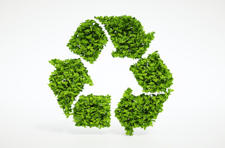 Isolated 3d render natural leaf recycling symbol with white background Archivio Fotografico