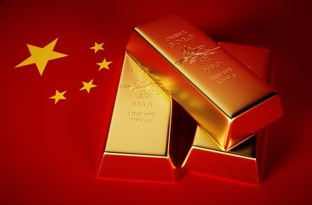 china flag: 3d Photo-realistic image of golden bricks with china background Stock Photo