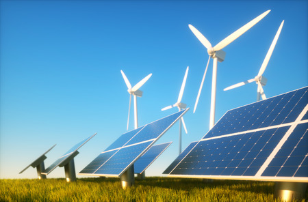 alternative energy sources: 3d render image of grass field with photovoltaic and wind power plants Stock Photo