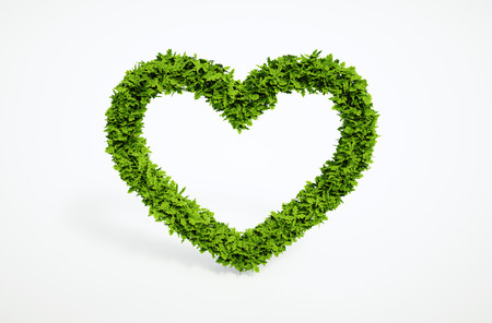 Isolated 3d render natural leaf heart symbol with white background