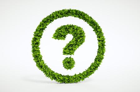 sustentabilidad: Isolated 3d hoja natural pregunta símbolo con fondo blanco