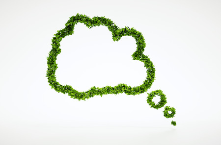 Isolated 3d render natural leaf thinking bubble symbol with white background Foto de archivo