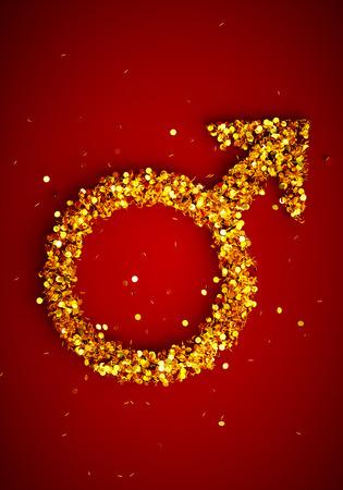 sex discrimination: 3d render image of male gender symbol wih many golden coins