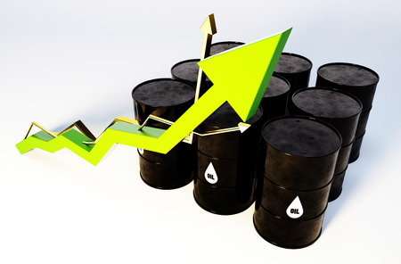 crude: 3d image of oil barrels with graph growing
