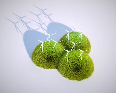 3d render image of stylized wind power plant with grass hills