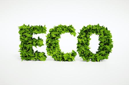 多くの葉で構成されているテキストの 3 d レンダリングされた生態学的イメージ