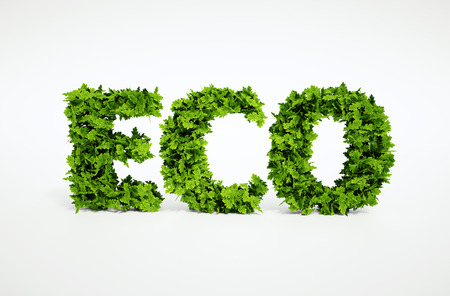 3d rendered ecological image of text, which is composed of many leaves Stockfoto