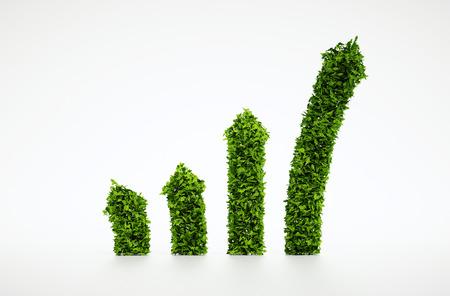Geïsoleerde 3d render natuurlijke blad grafiek symbool met een witte achtergrond