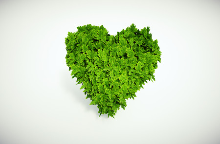 hundreds: 3d rendered ecological image - heart which is composed of many leaves