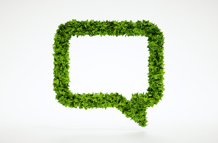 Isolated 3d render natural leaf talk symbol with white background