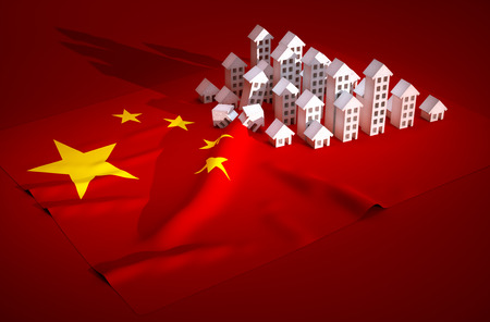housing crisis: 3d render illustration of china real-estate development