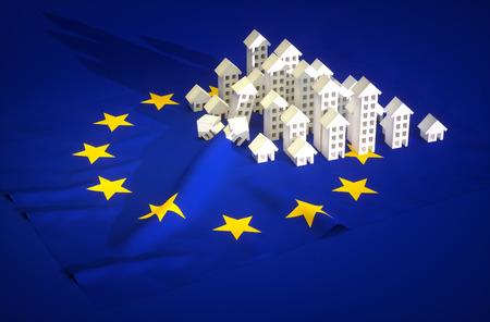 3d render illustration of EU real-estate development  Stock Photo