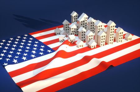 red america: 3d render illustration of United States real-estate development  Stock Photo