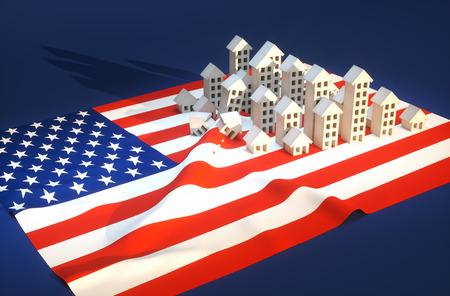 3d render illustration of United States real-estate development  Stock Photo