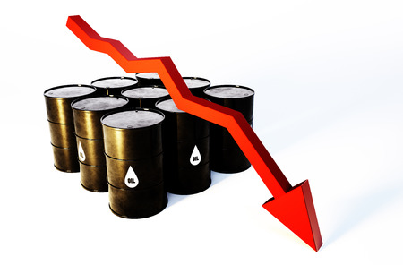 3d image of oil barrels with graph falling