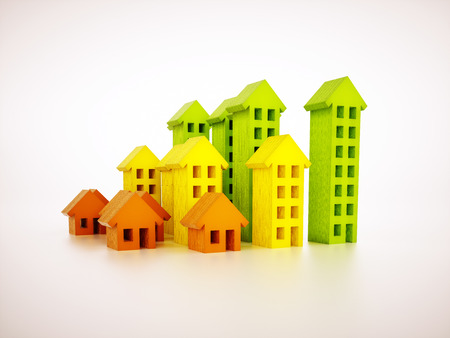 3d render image of stylized real estate graph
