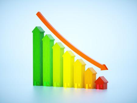 decreasing graph of real estate  Foto de archivo