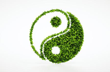 humanismo: 3d aislados hacen jin jang símbolo con fondo blanco