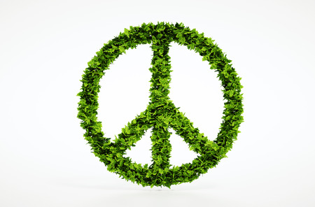 humanisme: Isol� 3d rendre symbole de paix avec un fond blanc