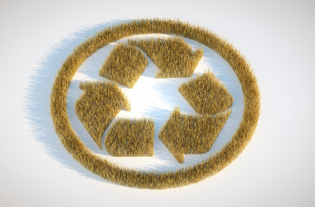 biological waste: 3d render image of crop circle with recyclation symbol Stock Photo