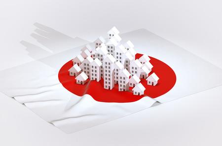 bandera japon: 3d ilustraci�n de desarrollo inmobiliario brasile�o