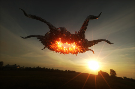 3d render image of ufo hovering over field