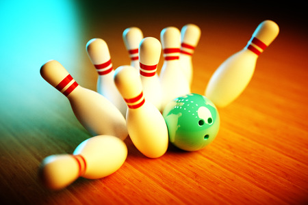 ten pin bowling: 3d Photo-realistic image of bowling scene with vivid background
