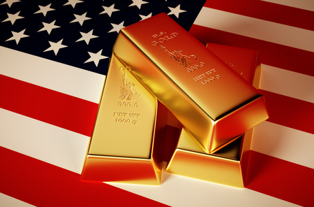 3d Photo-realistic image of golden bricks with U.S. background
