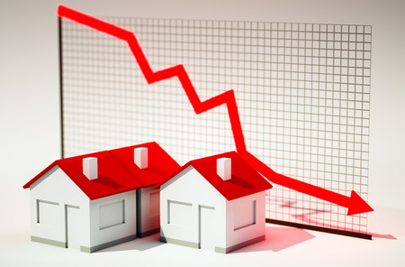 3d image of house with graph falling