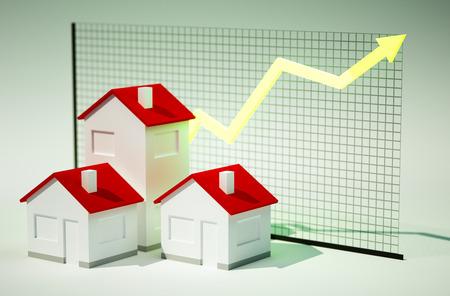 グラフの増加と住宅の 3 d のレンダリング画像 写真素材