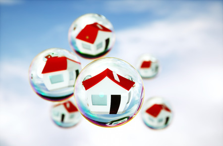 3D Image of real-estate (house) bubbles photo