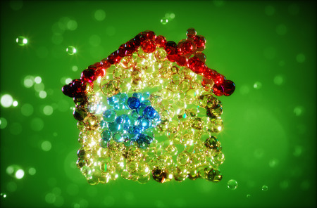 Abstract 3d illustration of home from bubbles illustration
