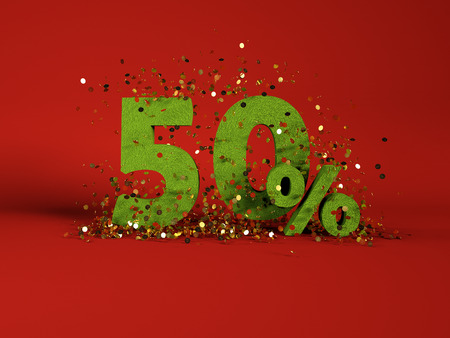 50: 3d image of spring 50 % discount symbol on red background Stock Photo