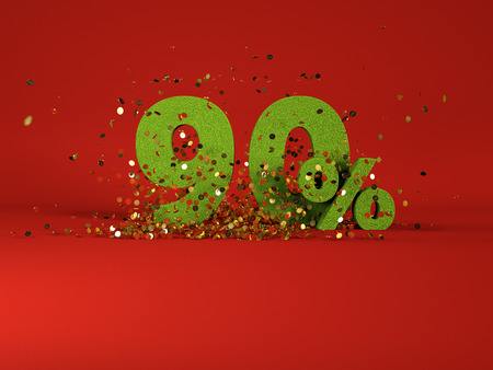 90: 3d image of spring 90 % discount symbol on red background Stock Photo