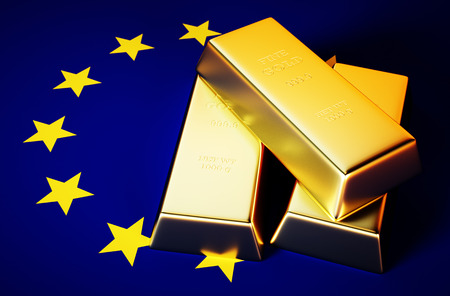 3d Photo realistic image of golden bricks with EU background photo