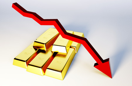 gold ingot: 3d render image of golden bars with declining graph