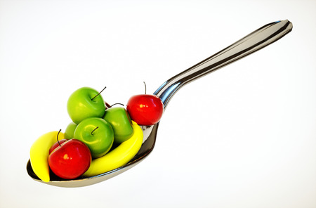 3d render image of spoon with fruit photo